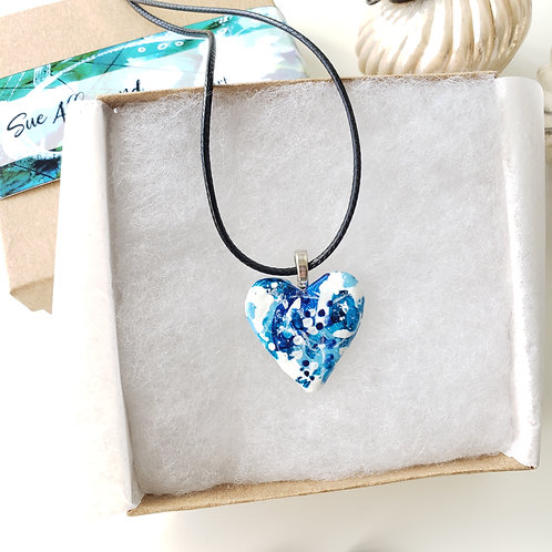 Blue Small Heart Pendant