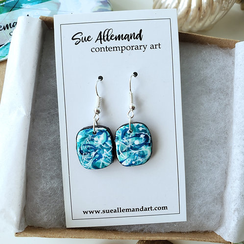 Turquoise Rounded Square Dangles