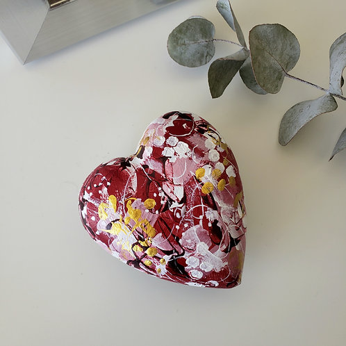 Red & Gold Heartstone Paperweight