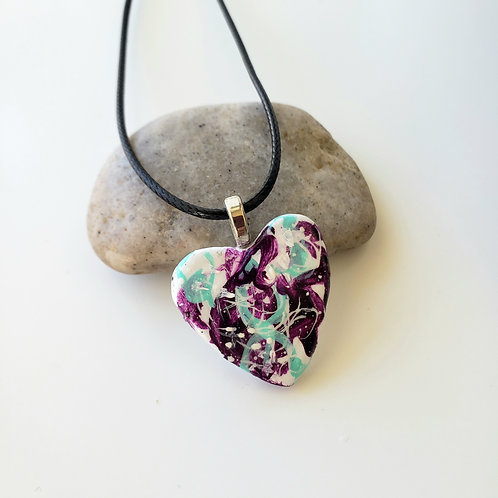 Purple & Mint Small Heart Pendant