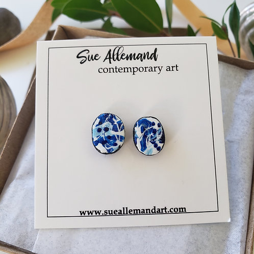 Royal Blue Oval Studs