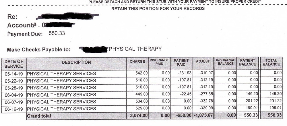 Physical Therapy Bill