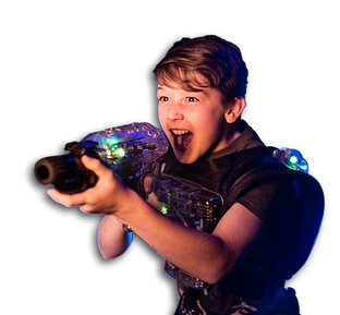 Boy playing laser tag