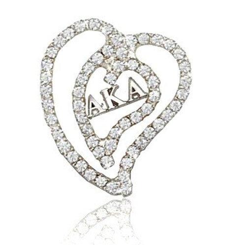 AKA Silver Heart Crystals Pin