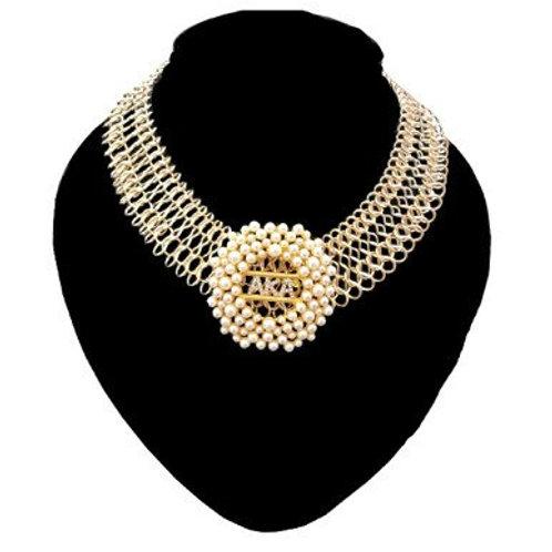 AKA Gold Mesh Brooch Necklace