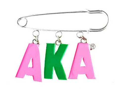 AKA Pink Green Letters Safety Pin-Brooch