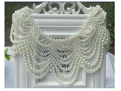 Mulit-Rows of Pearls Collar-Necklace