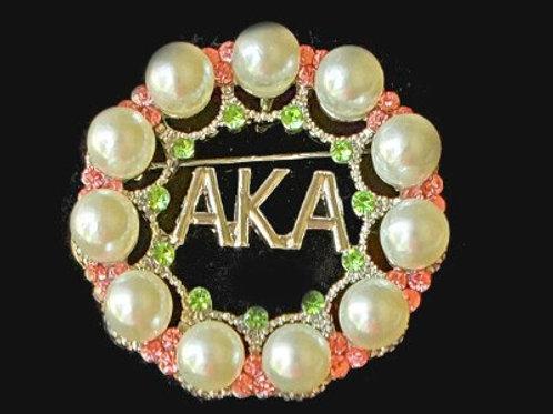 AKA Pearl Round Brooch