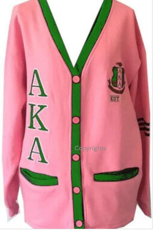 Pink Green Fleece Cardigan