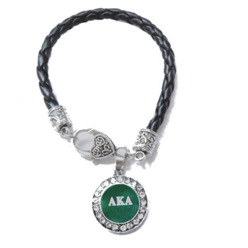 AKA Black Leather Pendant Bracelet