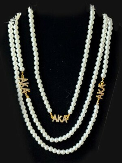 AKA Long Pearl Crystal Necklace