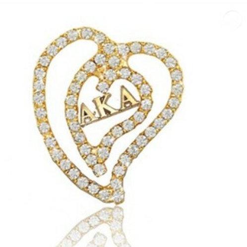 AKA Gold Heart Crystals Pin