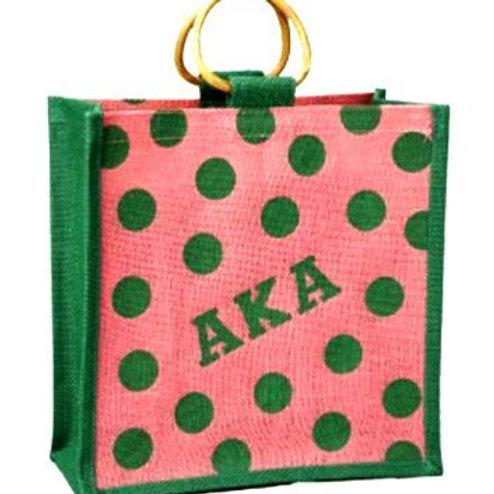 AKA Mini Jute Polka Dot Tote Bag