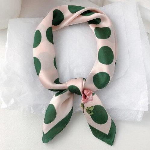 Pink Green Polka Dot Rose Scarf