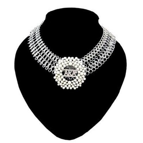 AKA Silver Mesh Brooch Necklace
