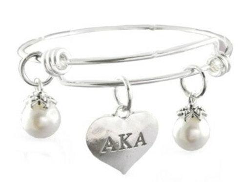 *AKA Heart Pearls Bangle Bracelet