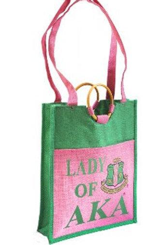 Lady of AKA Large Jute Tote Bag