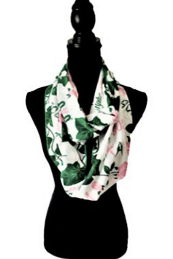 Front white background with green, pink.