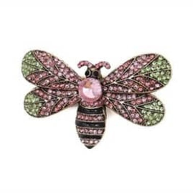 pink green crystals, bee body stripe black & pink crystals, pink crystal centered