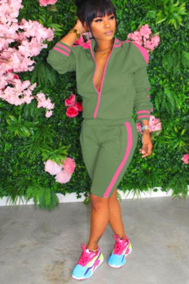 Pink Green Short Pants Tracksuit M-2XL