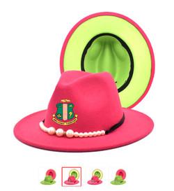 AKA Pink Green Shield Pandora Hat Cap 400