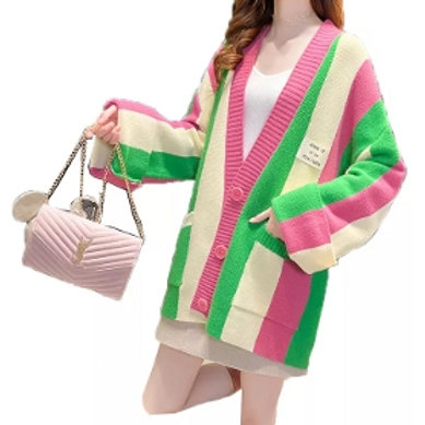 Pink, green, cream stripes. Pink buttons.