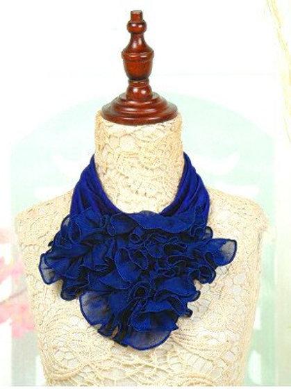 Royal Blue Ruffle Scarf