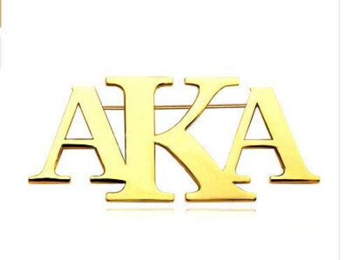 AKA Three Letter Gold Brooch