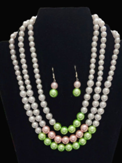 Pink Green Pearl Necklace Set