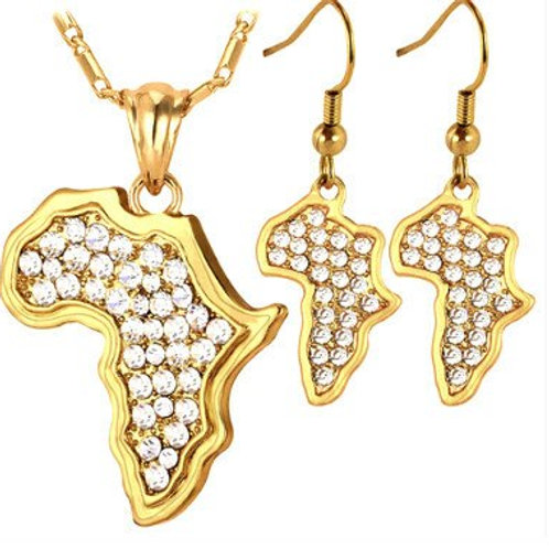 Gold Africa Crystals Necklace Set