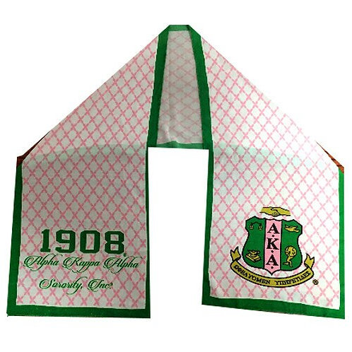 White background, pink criss-cross on background, green border and AKA lettering and shield..