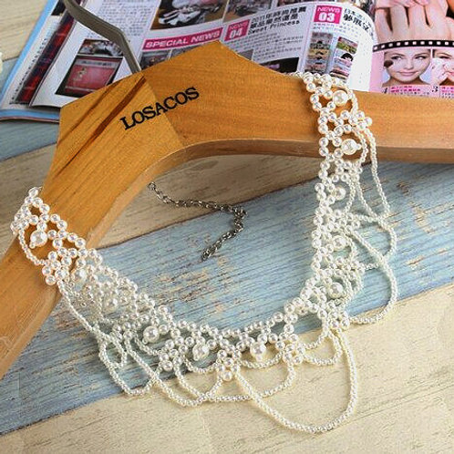 Scallop Pearl Collar Necklace