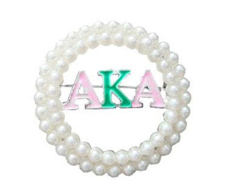 AKA Pearls & Letters Brooch-Pin