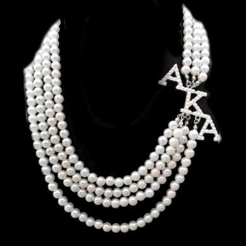 AKA Four White Strand Pearls Necklace