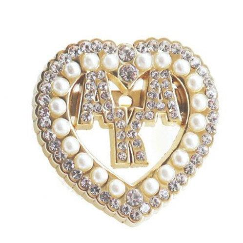AKA Pearl Crystals Heart Brooch-Pin