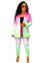 Womens Pink Green Watercolor Pantsuit