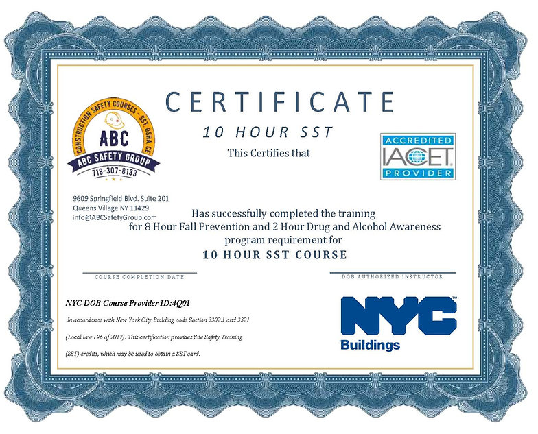 Certificate for 10 hr sst Course Complea