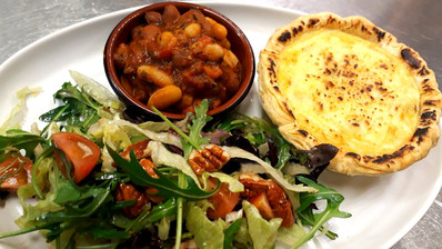 Leak, potoato & cheese tart, spicey beans, walnut salad