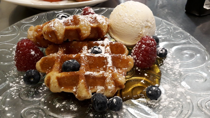 Waffles, maple, fruit, ice cream