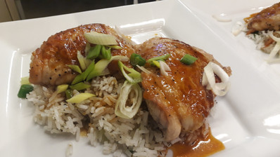 Honey glazed chicken, jasmine rice, spring onions