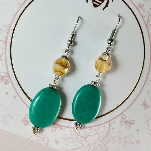 Turquoise & Czech Glass Silver Earrings