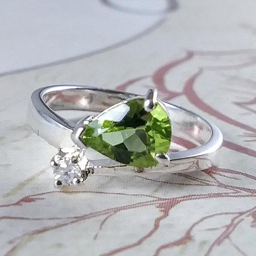Peridot Teardrop Sterling Ring