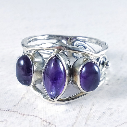 Triple Amethyst Sterling Ring