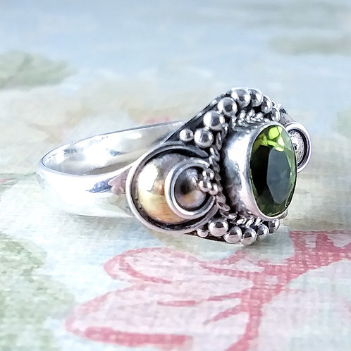 Faceted Peridot Sterling Ring