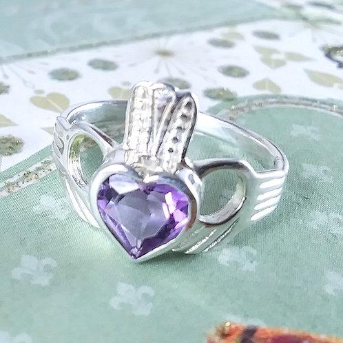 Heart Amethyst Claddagh Sterling Ring