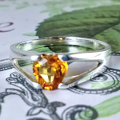 Heart Citrine Sterling Ring