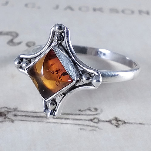Amber Sterling Ring