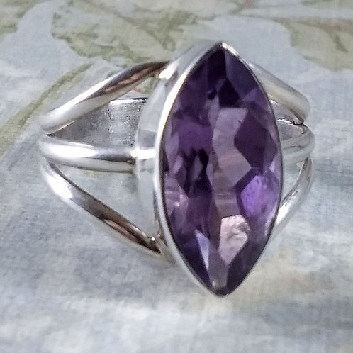 Large Amethyst Sterling Ring