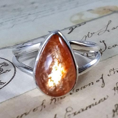 Teardrop Sunstone Sterling Ring