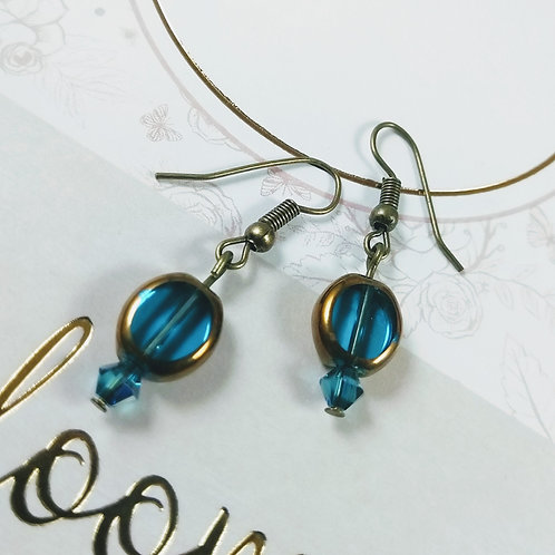 Blue Crystal Bronze Earrings